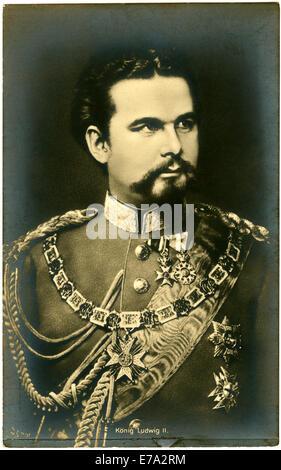 Ludwig II or Ludwig Otto Friedrich Wilhelm (1845-1886), King of Bavaria, Portrait, circa 1880 - Stock Photo