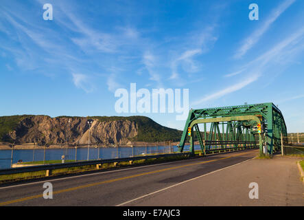 Bridge linking Nova Scotia to the Canso Causeway. Part of Cape Porcupine can be seen in the distance - Stock Photo