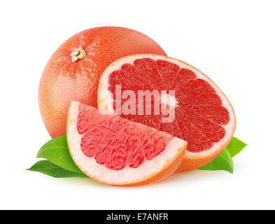 Red grapefruits on white background - Stock Photo