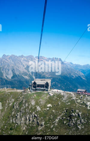 CHAMONIX, FRANCE - SEPTEMBER 02: Aiguille du Midi cable car station. The cable car is the highest in Europe, and - Stock Photo