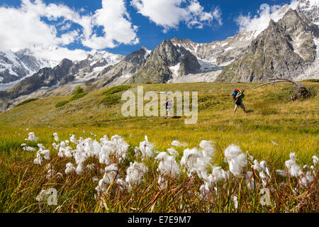 The Dent Du Geant in the Mont Blanc range, Italy, with walkers doing the Tour du Mont Blanc. - Stock Photo