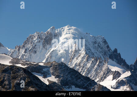 Aiguille Verte and Les Drus in the Mont blanc range above Chamonix, French Alps. - Stock Photo