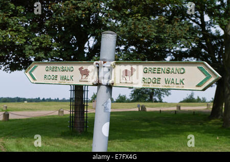 Metal sign in the grounds of Woburn Abbey UK, indicating the route of the Greensand Ridge Walk. - Stock Photo