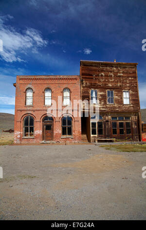 Bodie Post Office and IOOF Hall, Bodie Ghost Town, Bodie Hills, Mono County, Eastern Sierra, California, USA - Stock Photo