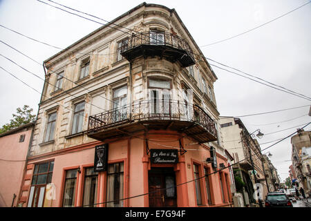 Bucharest Romania decaying buildings - Stock Photo