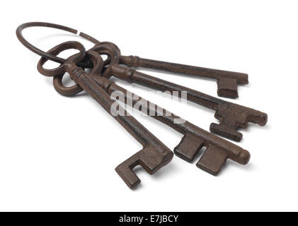 set of old rusty Keys Isolated on white - Stock Photo