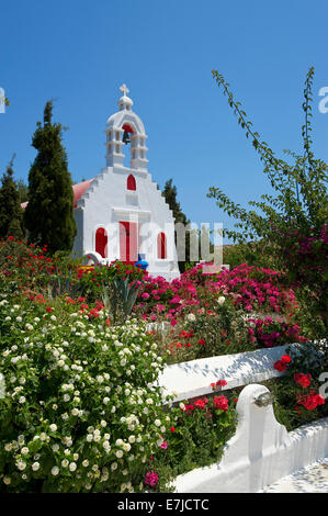 Greece, Europe, Cyclades, island, isle, islands, Greek, outside, Mediterranean Sea, chapel, church, architecture, - Stock Photo