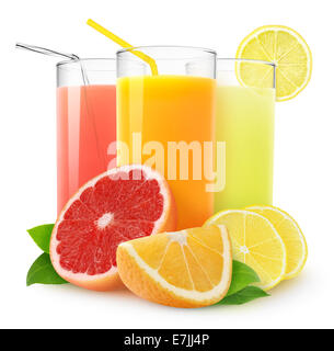 Fresh citrus juices on white background - Stock Photo