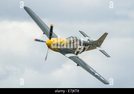 Old Flying Machine Company's P51D Ferocious Frankie in the colours of the 374th Fighter Sqn, 361st Fighter Group - Stock Photo