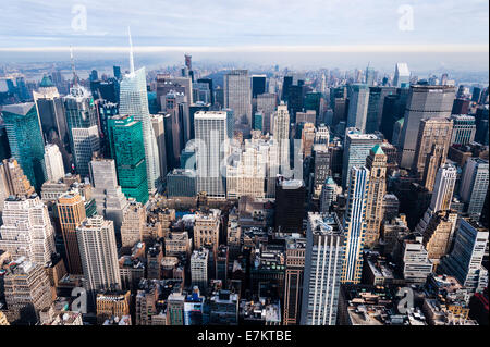 US, New York City. View from the Empire State Building observation deck. - Stock Photo