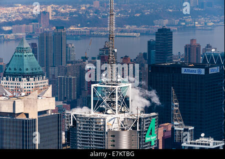 US, New York City. View from the Empire State Building observation deck. 4 Times Square. - Stock Photo