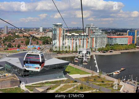 View from the Emirates Air Line Cable Car. London England UK - Stock Photo
