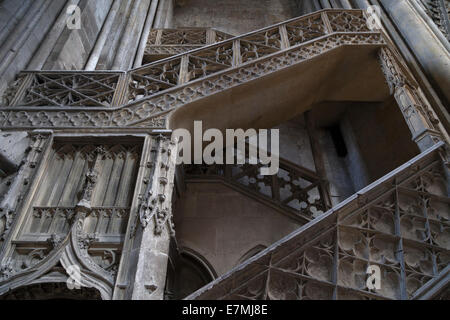 The Booksellers' Staircase (Escalier de la Librairie) in Rouen Cathedral, Normandy, France - Stock Photo