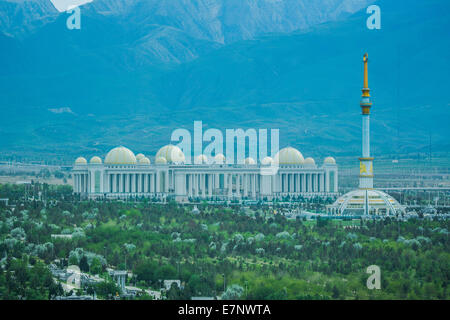 Ashgabat, Cultural, Turkmenistan, Central Asia, Asia, architecture, center, city, commercial, fountains, independence, - Stock Photo