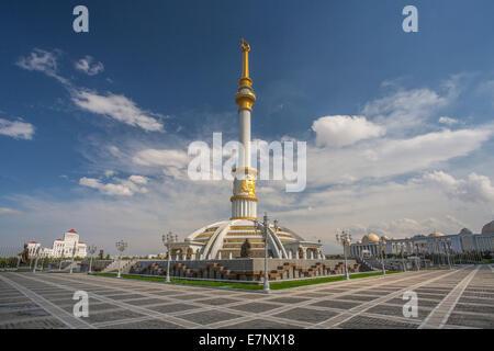 Ashgabat, Turkmenistan, Central Asia, Asia, architecture, avenue, city, colourful, golden, independence, monument, - Stock Photo