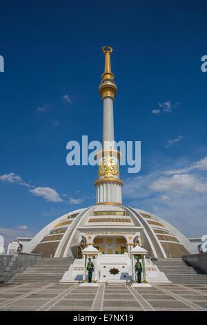Ashgabat, Turkmenistan, Central Asia, Asia, architecture, avenue, city, colourful, golden, guard, independence, - Stock Photo
