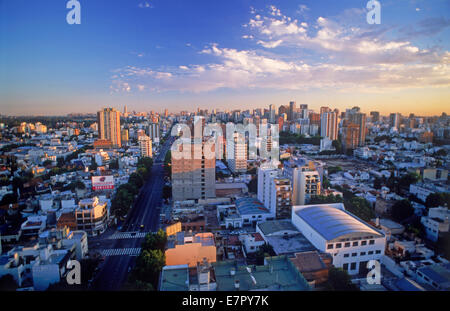 Overview of white homes in River Plata and Belgrano suburb with Stadium in Buenos Aires - Stock Photo
