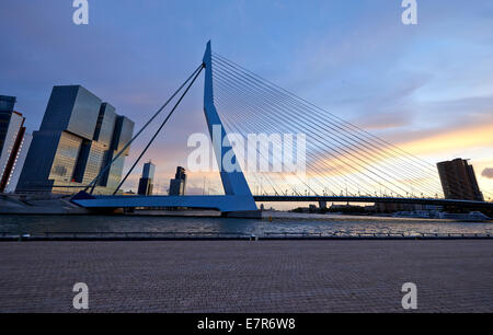 The Erasmus bridge by sunset in Rotterdam - Stock Photo