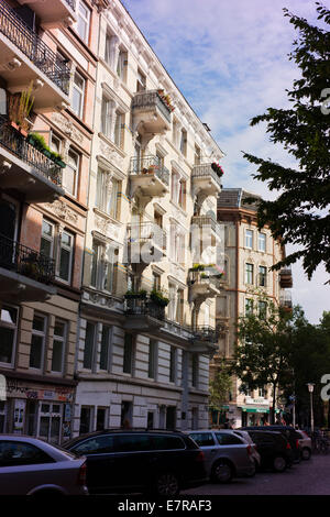 Apartment buildings in Hamburg's St Pauli district. - Stock Photo