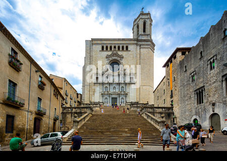 Stairs leading to Girona Cathedral, Cathedral of Saint Mary of Girona, Girona, Catalonia, Spain - Stock Photo