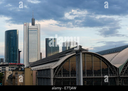 Germany: Skyline of Frankfurt with Skyper, Silberturm, Gallileo, Eurotower und Central Station (left to right). - Stock Photo