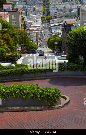 Lombard Street (claimed to be the world's crookedest street), Russian Hill neighborhood, San Francisco, California, - Stock Photo