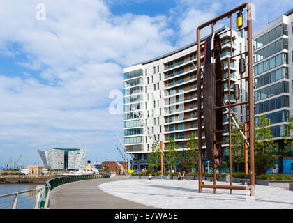 The Titanic Quarter with Titanic Belfast museum in the distance, Belfast, Northern Ireland, UK - Stock Photo