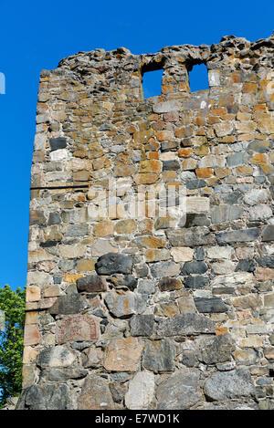 Rune stone in wall, St. Olof Church (c. 1100), Sigtuna, Sweden 140811_61940 - Stock Photo