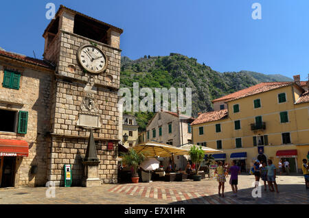 Clock tower and Square of Arms at Kotor Old Town, Montenegro - Stock Photo