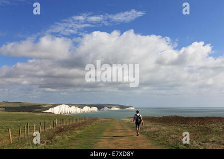 The Seven Sisters, East Sussex, England. 25th September 2014. The south coast of England enjoyed another day of - Stock Photo