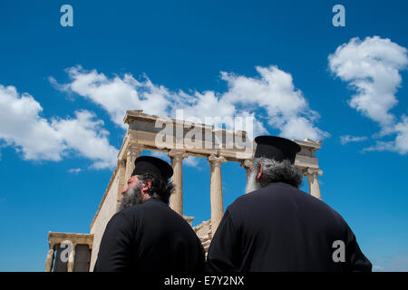 The Erechtheion or Erechtheum is an ancient Greek temple on the north side of the Acropolis of Athens in Greece - Stock Photo