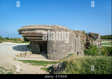 Bombed German Second World War Two bunker at the Pointe du Hoc, Normandy, France - Stock Photo
