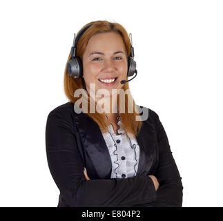 Smiling help center woman with headset in black jacket isolated on white - Stock Photo