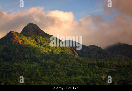 Sunset on the Mahe island, Seychelles - Stock Photo