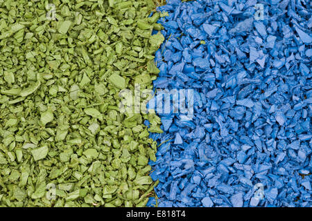 Blue and green Wood chippings - Stock Photo