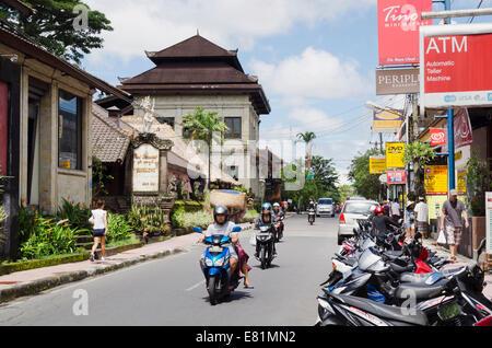 Main street in the city center, Jalan Raja, Ubud, Bali, Indonesia - Stock Photo