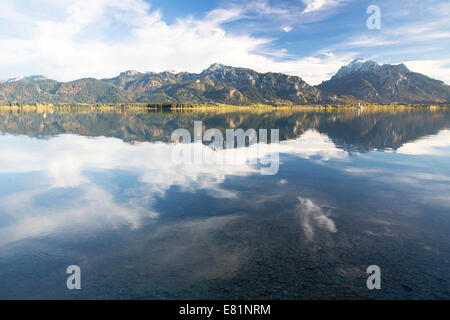 Autumn mood with mountain views on Forggensee lake near Füssen, East Allgäu, Bavaria, Germany - Stock Photo