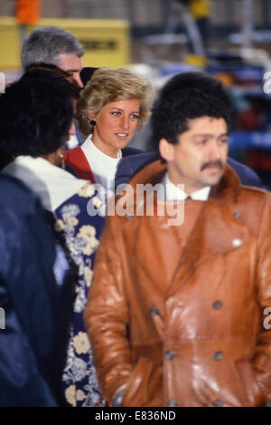 Diana, Princess of Wales visits Harlem Hospital's pediatric AIDS unit in Harlem. New York City, USA. 1989 - Stock Photo