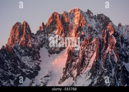 Les Drus and Aiguille Verte at dusk as seen from Requin hut, Vallee Blanche, Chamonix, France - Stock Photo