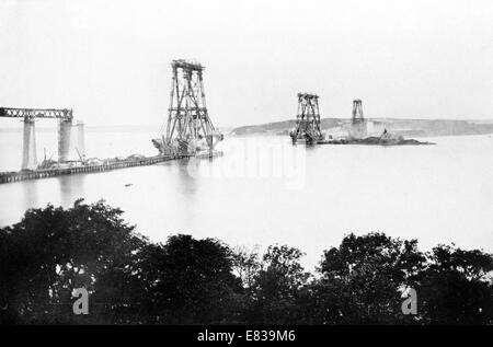 Forth Bridge main Piers August 1887 building construction - Stock Photo