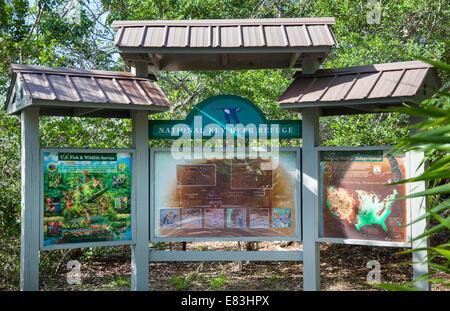 National Key Deer Refuge sign on Big Pine Key in the Florida Keys - Stock Photo
