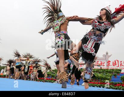 Beijing, China. 30th Sep, 2014. U.S. artists dance during the opening ceremony of the 16th Beijing International - Stock Photo