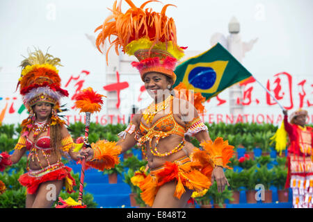 Beijing, China. 30th Sep, 2014. Brazilian dancers perform samba during the opening ceremony of the 16th Beijing - Stock Photo