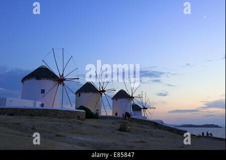 Windmills, Kato Mili, Mykonos Town, Mykonos, Cyclades, Greece - Stock Photo