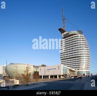 Atlantic Hotel Sail City, Klimahaus Bremerhaven, Conference Center, Havenwelten, Bremerhaven, Bremen, Germany - Stock Photo