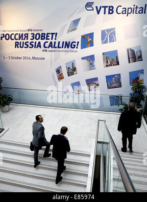 Moscow, Russia. 1st October, 2014.The 6th VTB Capital Investment Forum 'Russia Calling' takes place at the Moscow - Stock Photo