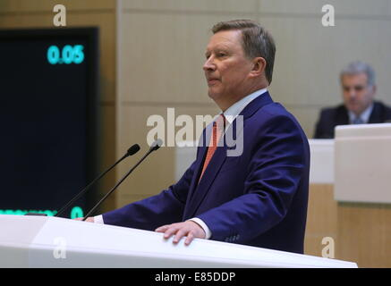 Moscow, Russia. 1st October, 2014.  Kremlin's chief of staff Sergei Ivanov addressing the Federation Council during - Stock Photo