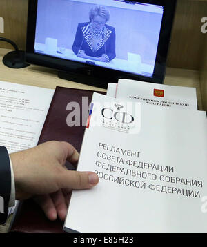 Moscow, Russia. 1st October, 2014. Standing orders of the Federation Council. Credit:  ITAR-TASS Photo Agency/Alamy - Stock Photo