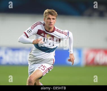 Moscow, Russia. 30th Sep, 2014. Munich's Thomas Mueller in action during the UEFA Champions League group E soccer - Stock Photo