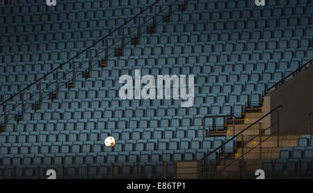 Moscow, Russia. 30th Sep, 2014. The empty stands at the Khimki Arena during the UEFA Champions League group E soccer - Stock Photo